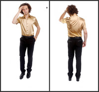 Casual Men Silk Popular Short Sleeve Elastic Silk like Satin Men Wedding Groom Shirts 9 Colors Bridegroom Shirt G791