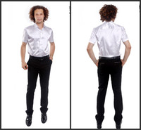 Casual Men Silk New Short Sleeve Elastic Silk like Satin Men Wedding Groom Shirts 9 Colors Bridegroom Shirt G792