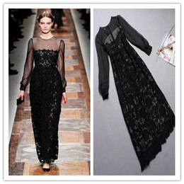 Wholesale New Arrival Lace Embroidery Chiffon Dress Long Sleeve Low Waist Round Neck Runway Dresses WT059