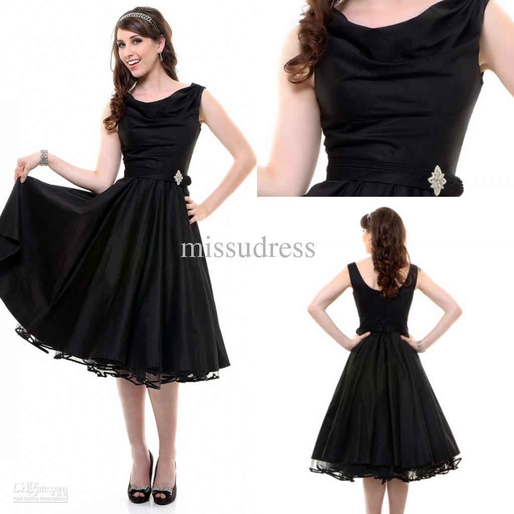Fashion Party Dress Scoop Ruffle Tea Length Satin Tulle Black ...