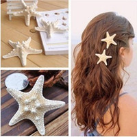 Wholesale Made by real natual starfish lady charm fashion HAIR CLIP HAIR DECORATION Genuine beautiful Clips