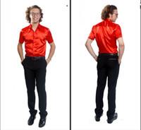 Casual Men Silk New Fashionable Elastic Silk like Satin Men Wedding Groom Shirts 9 Colors Bridegroom Shirt G787