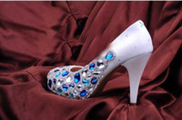 Wholesale 2013 Hot Sell Rhinestone Crystal White Custom Made CM High Heel Bridal Wedding Shoes