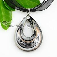 Cheap china jewelry fashion jewelry Baratos-Hoja de plata de la lágrima con las líneas collares de cristal de los colgantes Joyería barata de la manera de la joyería de China Mup1802YH