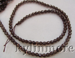 8SE03746 4mm Natural Smoky Quartz Faceted Round Bead