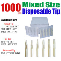 Wholesale hot sales1000 Disposable White Tattoo Tips Assorted Mixed Size for machine gun Grip Needle Ink Kit