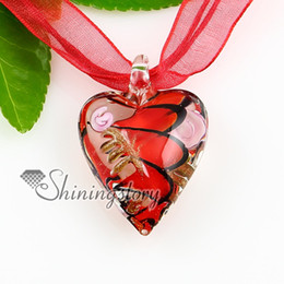 heart swirled glitter lampwork murano Italian venetian handmade glass necklaces pendants jewellery Mup1812Y