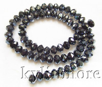 Wholesale 8SE06157a strds MM Black Czech Glass Faceted Rondelle Beads