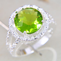 Wholesale New brand fine sterling gemstone Peridot Ring jewelry LR0257