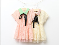 Wholesale new girl s lace short sleeve dress children s lapel bow hollowed out dresses fit for years