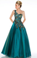 Wholesale Peacock beaded Appliques Ball Gown Prom dresses Pageant Gown with One Shoulder Neckline H