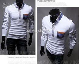 Wholesale men leisure grids pockets silm long sleeve POLO shirts