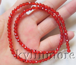 """8SE08344a 4mm Carnelian Faceted Round Beads 15.5"""""""