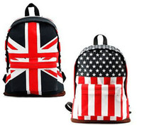 Wholesale New UK USA Flag Canvas Women Backpack Shoulder Bookbag Satchel School Bag Backpack Flag