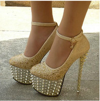 Wholesale New Women s Super High Heel cm Waterproof Shoes diamond wedding shoes