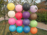 Wholesale Paper Lanterns Handmade Solid Color Round shape Craft Folding Lanterns Chinese Lanterns Party Decoration Festive and Party Supplies