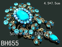 Women's antique vintage brooches - antique bronze pendant flower alloy brooch crystal rhinestone brooch vintage brooch pin