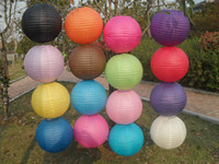 Wholesale Chinese Paper Lanterns Handmade cm Solid Color Round shape Folding Craft Lanterns Wedding Party Decoration Festive and Party Supplies