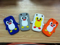 Wholesale Cute Penguin Soft Silicon Back Skin Case Cover for BB Curve Mix colors