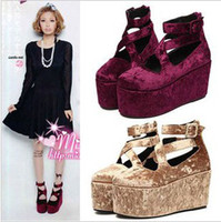Wholesale Lolita Velvet Suede Women Fashion Style Strap High Heels Platform wedges Shoes sandals Gift