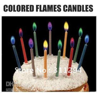 Wholesale 6Packs Magic Colored Flames Candle Magic Birthday Party Decoration pack H141