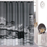 Wholesale off per order High Quality City Night View Bathing Waterproof Bathroom Fabric