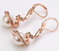 Wholesale High Quality Fashion Gold Silver Alloy Earrings Pearl Earrings Rhinestone Clip Earrings E023