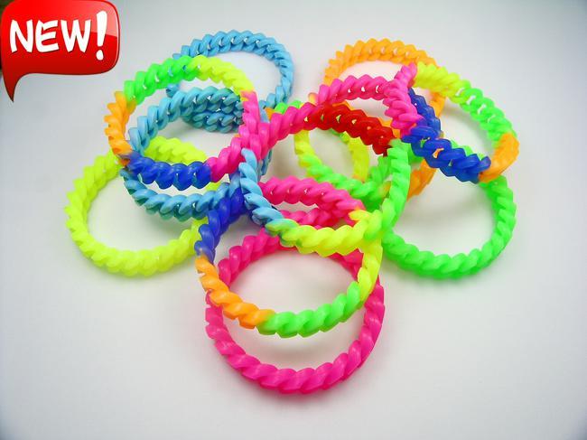 2017 Fluorescent Candy Color Bracelets Rubber Elastic ...
