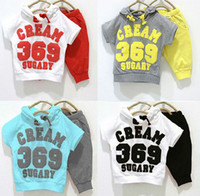 Boy Summer Short hot new style cotton kids clothing set, hooded T-shirt+pant, 369 children set availa m1