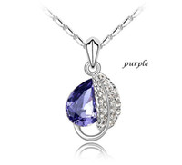 Asian & East Indian austrian crystal bridal jewelry - Fashion Leaf Necklace Pendant Austrian Crystal Necklace Bridal Jewelry P002