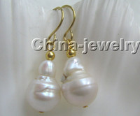 baroque pearl earrings - Big x14mm natural white Reborn Keshi baroque FW pearl earring