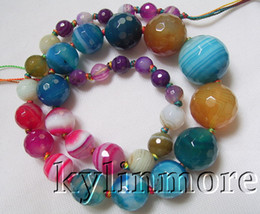 8SE08311a 8mm-20mm Agate Faceted Round Beads 18""