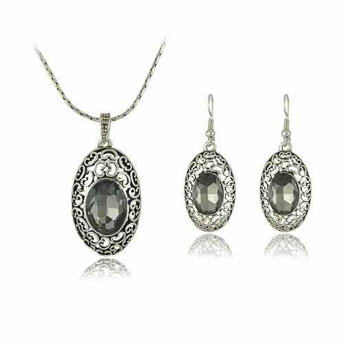 Grey Colour Earrings: 2017 Gray Color Crystal Necklace And Earrings Set Party