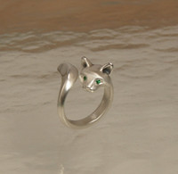 Wholesale Cat Rings Hotsale Kitty Jewelry Real Yellow Gold and White Gold Plating Ring LM R003