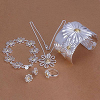 Bracelet,Earrings & Necklace quality jewelry - Chrysanthemum Silver Jewelry Set High quality fashion charm Necklace bracelet Earrings Ring Set Jewelry S314