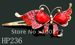 Wholesale butterfly rhinestone alloy hair clip mixed colors HP236
