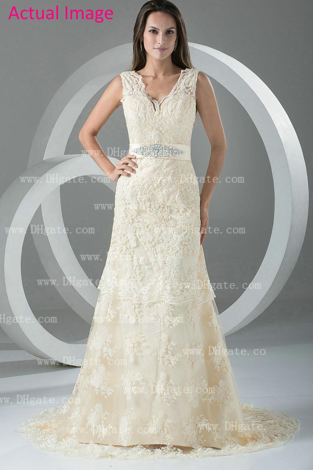 2013 Fall Beige V Neck Vintage Evening Dresses Lace Prom Dresses ...