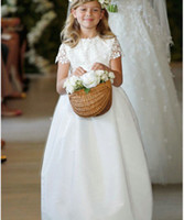 Wholesale 2013 Cup Sleeve Appliques Satin Little bow gown Soft Tull Flower Girl Dresses