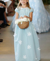 Wholesale 2013 Cup Sleeve Appliques Jewel Ankle Length Satin Little bow gown Soft Tull Flower Girl Dresses