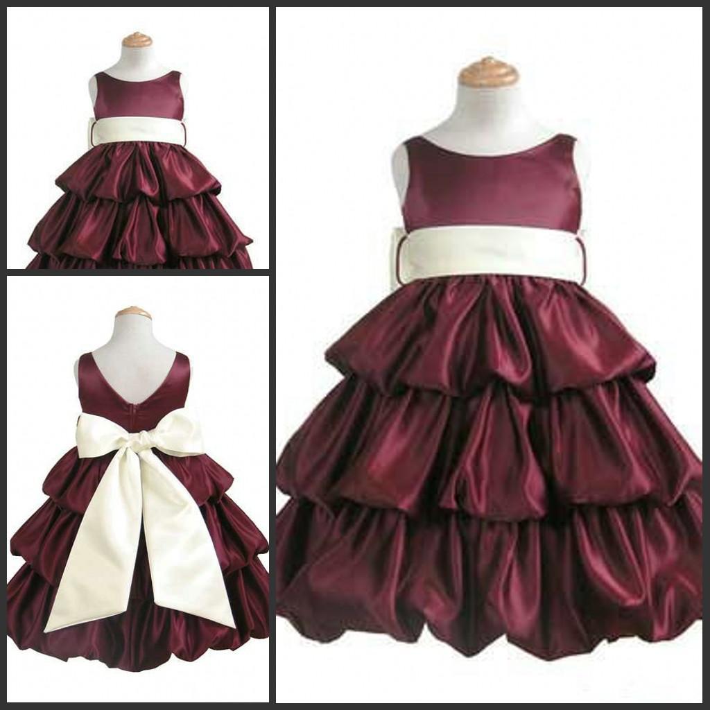 Flower Girl Dress Brown Pageant Girl Formal Dress Ivory Sash Big ...