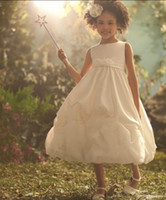Wholesale 2013 Spaghetti Satin sash Ruffers White Ankle Length Flower Girl Dresses