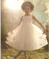 Wholesale 2013 Spaghetti Sleeveness Organza Ruffers White Ankle Length Flower Girl Dresses