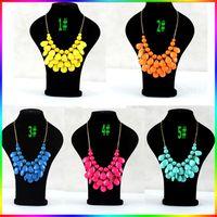 Pendant Necklaces bib necklace cheap - Bib Statement Necklace Colors Chunky Multi Layers Resin Gem Bubble Necklace Cheap Jewelry