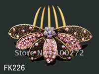 Wholesale flowers crystal rhinestone hair combs hair accessory mixed colors FK226