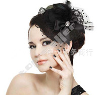 Wholesale Women Hair Clip Mini Top Hat Fascinator Girls Hair Feathers HOT Billycock Hair Accessory Accessories