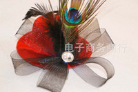 Wholesale Girls Feather Hair Clip Hair Accessory Mini Top Hat Fascinator Decoration Cocktail HOT Billycock