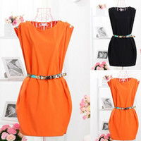 Wholesale Neck Sleeveless Button Shoulder Tunic Dress With Belt spring summer W1235