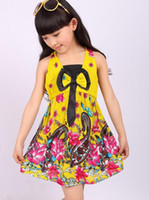 Wholesale 120 Girls Summer Dresses Girls ethnic Bow Dress Flower Dresses for girls Silk Dresses C006