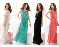 Wholesale Women Bohenmia Pleated Wave Lace Strap Princess Chiffon Maxi long dress Four Colors
