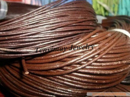Real Leather Rope 4mm Brown Geguine Leather Necklace Cords For DIY 25m Lot Free Shipping